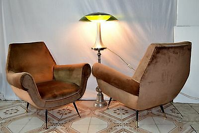 Coppia poltrone in velluto Pair of Armchairs by Gigi Radice for Minotti 1959