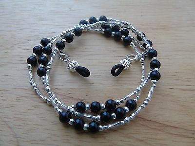 Handmade Black Beaded Spectacle / Glasses Chain / Necklace.