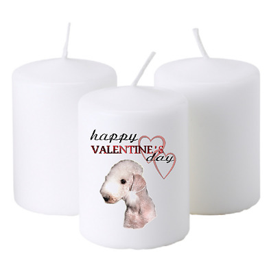 x1 Bedlington Terrier Dog Valentine's Design Pillar Candle by paws2print