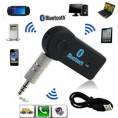 Wireless 3.0 Bluetooth Audio Receiver Stereo Music Car Adapter &Mic 3.5mm AUX UK