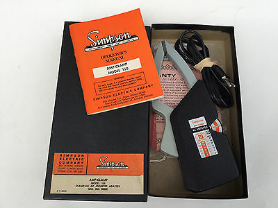 Simpson Model 150 Amp Clamp Clamp-On Ammeter Original Box/Manual Working