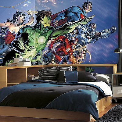 RoomMates JL1380M Justice League XL Chair Rail Prepasted Mural 6 x 10.5 -