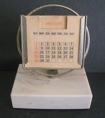 Vintage PERPETUAL DESK TABLE CALENDAR PAPER WEIGHT w/ WHITE MARBLE BASE
