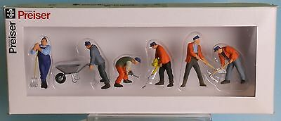 Preiser 65336, Spur 0  1:43,5 / 1:45, Gleisbauarbeiter, Trackworkers, Ouvriers d