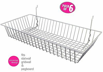 "6 pcs - 24"" x 12"" x 4"" Baskets for Gridwall/Slatwall/Pegboard - WHITE"