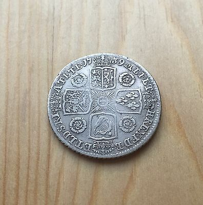 British King George II 1739 Young Head Silver Shilling Coin Roses-Free UK Postag