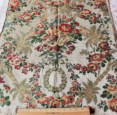 French Antique Silk & Metallic Brocade Fabric c1860-70~Woven On 18thC Looms