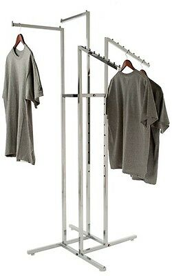 Clothing Rack 4 Way Slant Straight Arms Chrome Clothes Adjustable Garment Retail
