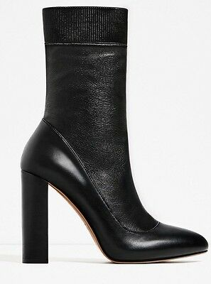 e07e38bdce0 New Zara High Chunky Heel Stretch Real Leather Ankle Boots 5106 101 Size 6