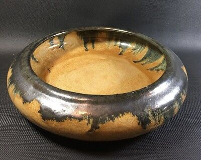 "Antique Arts & Crafts Fulper Pottery Low 10 1/2"" Bowl Tan Black Brown Glaze 2M"