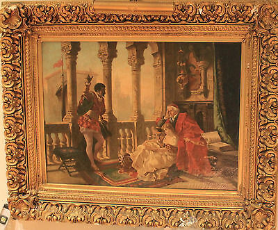 Painting by RUSSIAN Artist F. KORIN- OTHELLO and DESDEMONA- Oil, signed