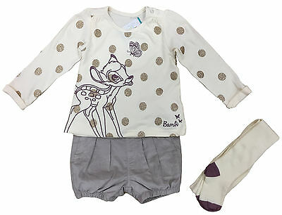 Baby Girls Bambi Outfit Set Top Shorts Tights 0 3 6 9 12 18 24 Months Bnwt