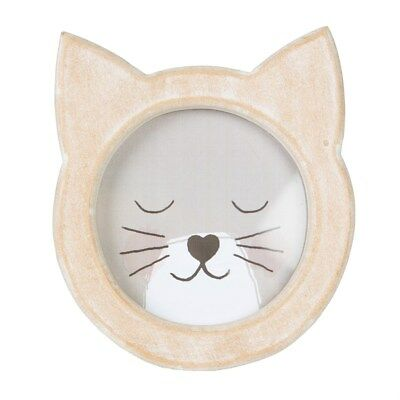 Cat Face Rustic Wooden Distressed Cute Beige Brown Freestanding Photo Frame