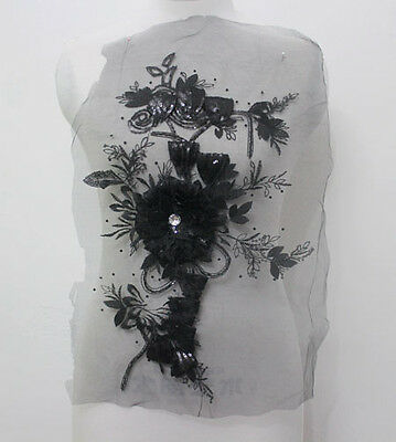 1Pcs Embroidery Tulle Sequin Crystal 3D Flower Applique/Patch~Sew On Black