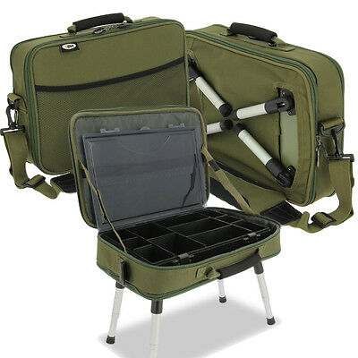 NGT Deluxe Adjustable Anglers Carp Fishing Box Case System Built In Bivvy Table