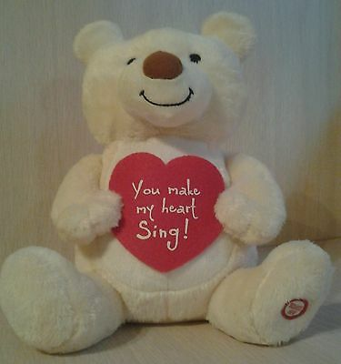 Valentine's Day Gift Bear Animated Sings Wild Thing Red Heart Plush Ears Move