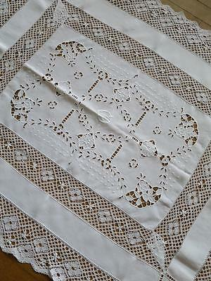 Large Edwardian Irish Linen Table Topper- Hand Worked Bobbin Lace & Embroidery