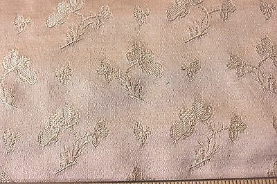 Antique French Floral Peachy Beige Lyon Silk Sample Fabric c1890~Home Dec,Dolls