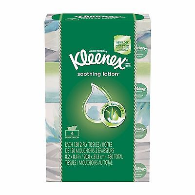Kleenex Facial Tissues with Lotion 120 Count, 4 Pack