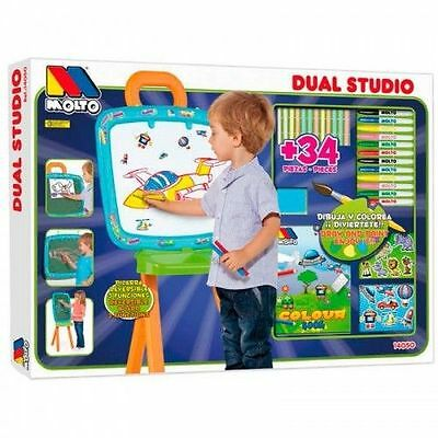Molto Kids large Double Sided Art Chalk Board Easel Painting Coloring Drawing