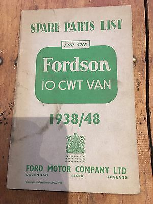 Original Spare Parts List for the Ford Fordson 10 cwt Van 1938-48