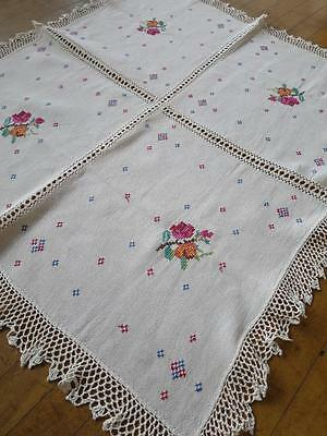 Pretty Vintage Linen Hand Embroidered Table Cloth- Cross Stitch Roses & Crochet