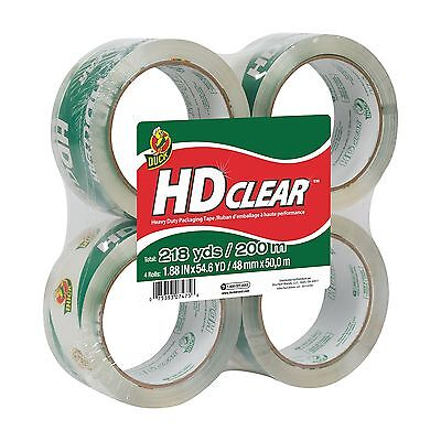 Duck Brand HD Clear High Performance Packaging Tape 1.88-Inch x 54.6-Yard 4 Pack