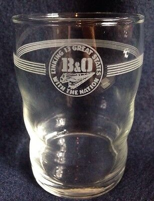 B & O RAILROAD LINKING 13 GREAT STATES WITH THE NATION 8oz GLASS Libbey