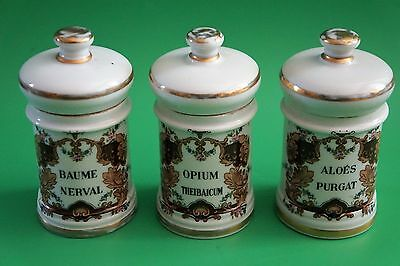 3 Antique French France  Apothecary Jars late1800's Fine Porcelain Opium