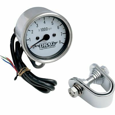 Drag Specialties Chrome/White Mini Electronic 8000 RPM Tachometer For Harley