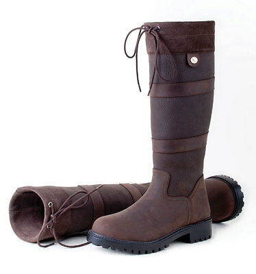 Rhinegold Elite Brooklyn Equestrian Long Leather Country Boots Stable DogWalking