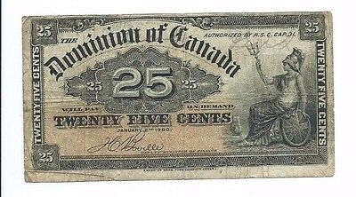 1900 Dominion of Canada 25c Twenty Five Cent Note Circulated