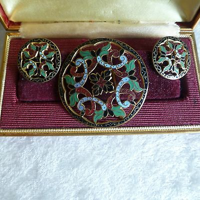 Antique Pin and Earring Set - Enamel French? Champleve