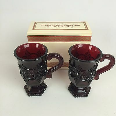 Avon Cape Cod Ruby Red Collection TWO PEDESTAL MUGS SET Vintage Glass