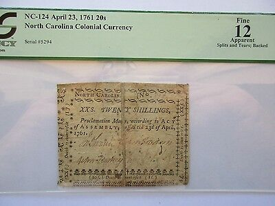 Colonial Currency No. Carolina NC-124, 1761, 20s, PCGS Fine 12 apparent