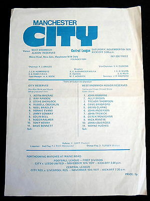Manchester City reserves v West Bromwich Albion  reserves    5-11-1977  1977-78