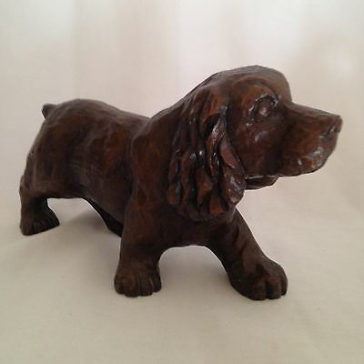 RARE Red Mill CLUMBER SPANIEL - Pecan Shell Composite Wood Carving Look