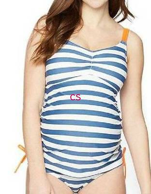 NWT $60-Motherhood Maternity Blue White Striped 2 Pc Tankini Swimsuit- M, L & XL