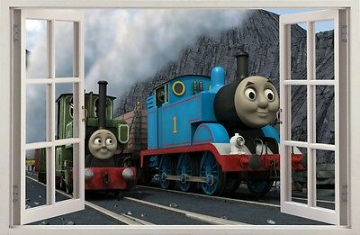 WALL STICKERS 3D Effect Window TRAIN THOMAS decorative sticker to the room 19