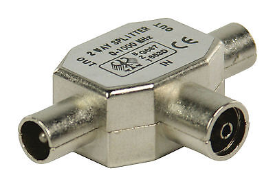 TV Aerial Metal Coaxial Signal Splitter - 2 Way 1 Female to 2 Male Coax - NEW