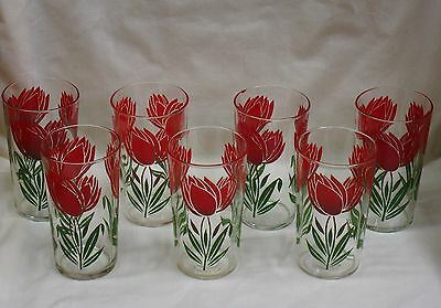 7 VINTAGE SWANKY SWIGS GLASSES WITH RED / GREEN TULIPS TUMBLERS 8 OZ b48c