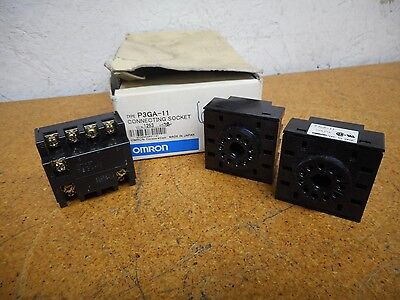 Omron P3GA-11 Connecting Sockets 6A 250VAC 11 Position New (Lot of 3)