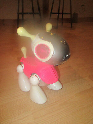 Hasbrp Mio Pup White Silver 2011 Robotic Interactive Dog with Pink Coat no bone