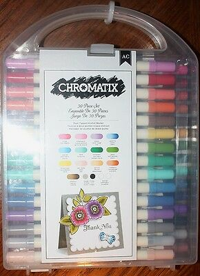 CHROMATIX 30 Piece Dual-Tipped Alcohol Markers w/case by American Crafts. NEW NR