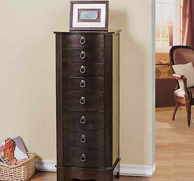 Tall Jewelry Armoire & Mirror Chest Locking Box Brown Wood Storage Cabinet Stand