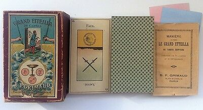 c.1890 Old Tarot Egyptien Grand Etteilla B.P. Grimaud 78 Cards RARE Paris France