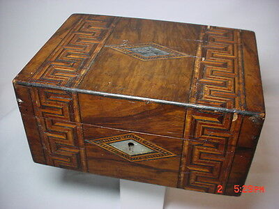 Antique Victorian box with detailed inlaid veneer marquetry