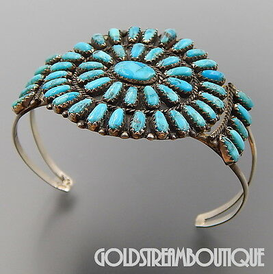 Navajo Signed Pb Sterling Silver Turquoise Petit Point Cluster Cuff Bracelet