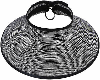 Beach Hat Foldable Adjustable Roll Up Wide Brim Straw Bow Sun Visor Floppy Cap