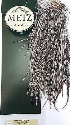 METZ #2 SADDLE GRIZZLY photo # 0204 for size 10 & up to 18 DRY FLIES FEATHERS